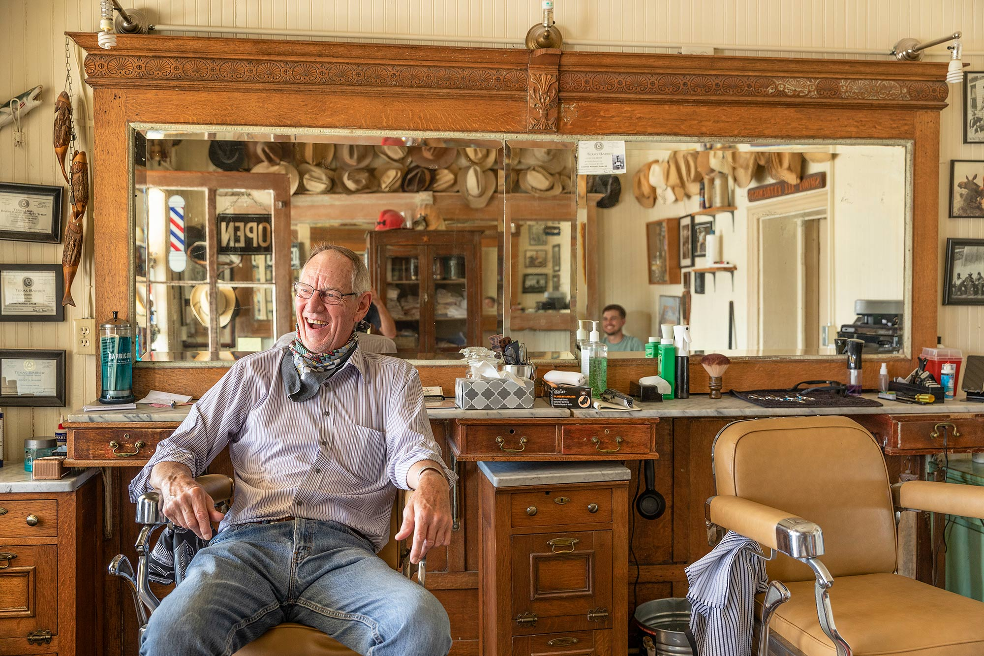Jim Moore in Comfort Barber Shop