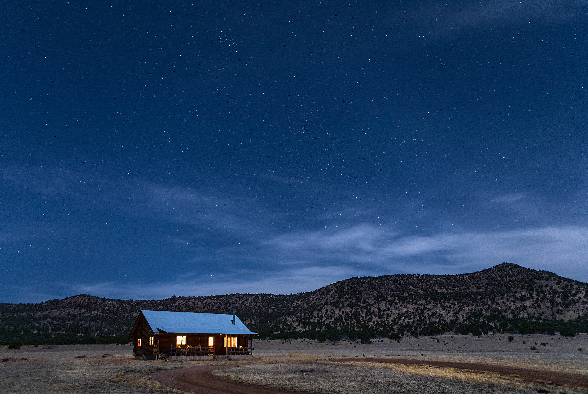 Cabin at night in the Davis Mountains