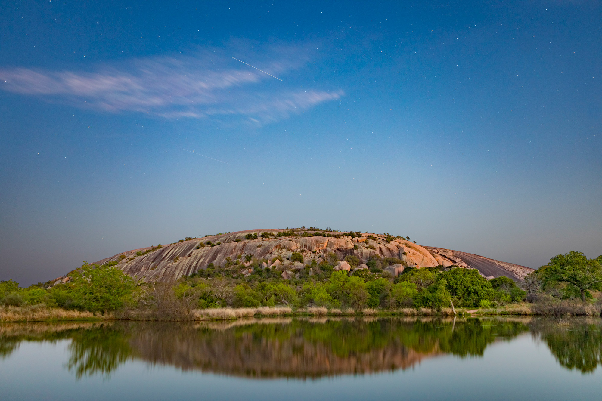 Enchanted Rock and stars at dusk, Texas