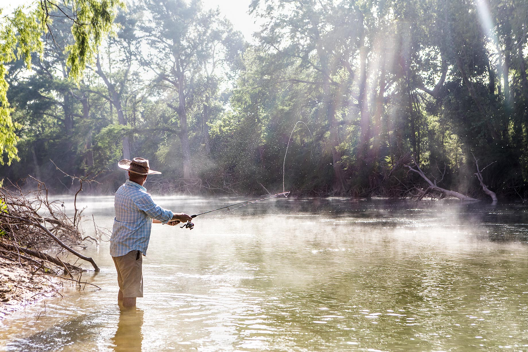 Fishing on the Guadalupe River Canoe Trip