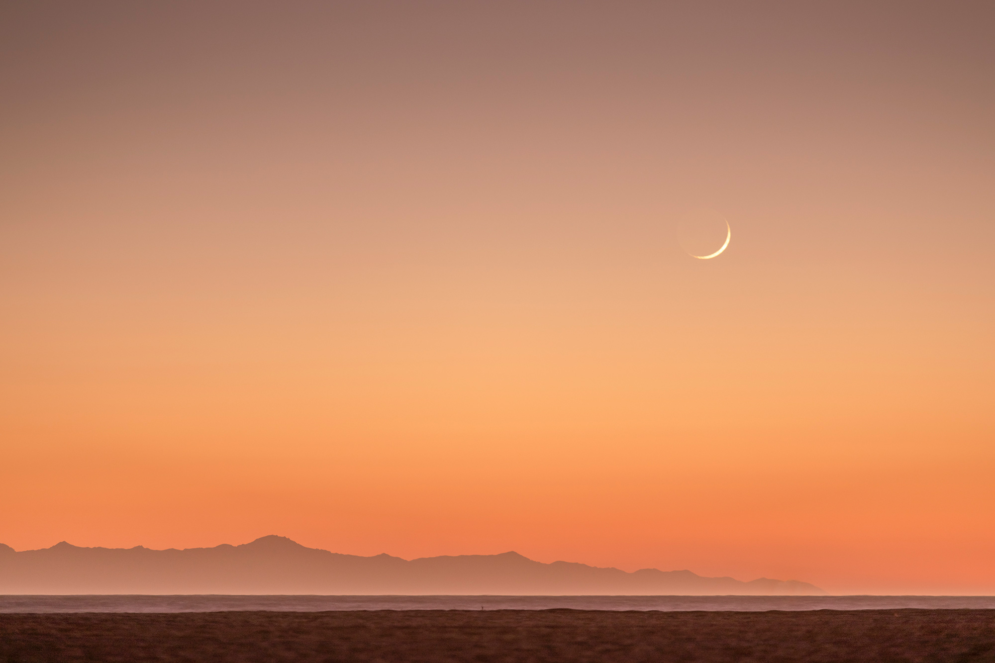 Moonset over Channel Islands California