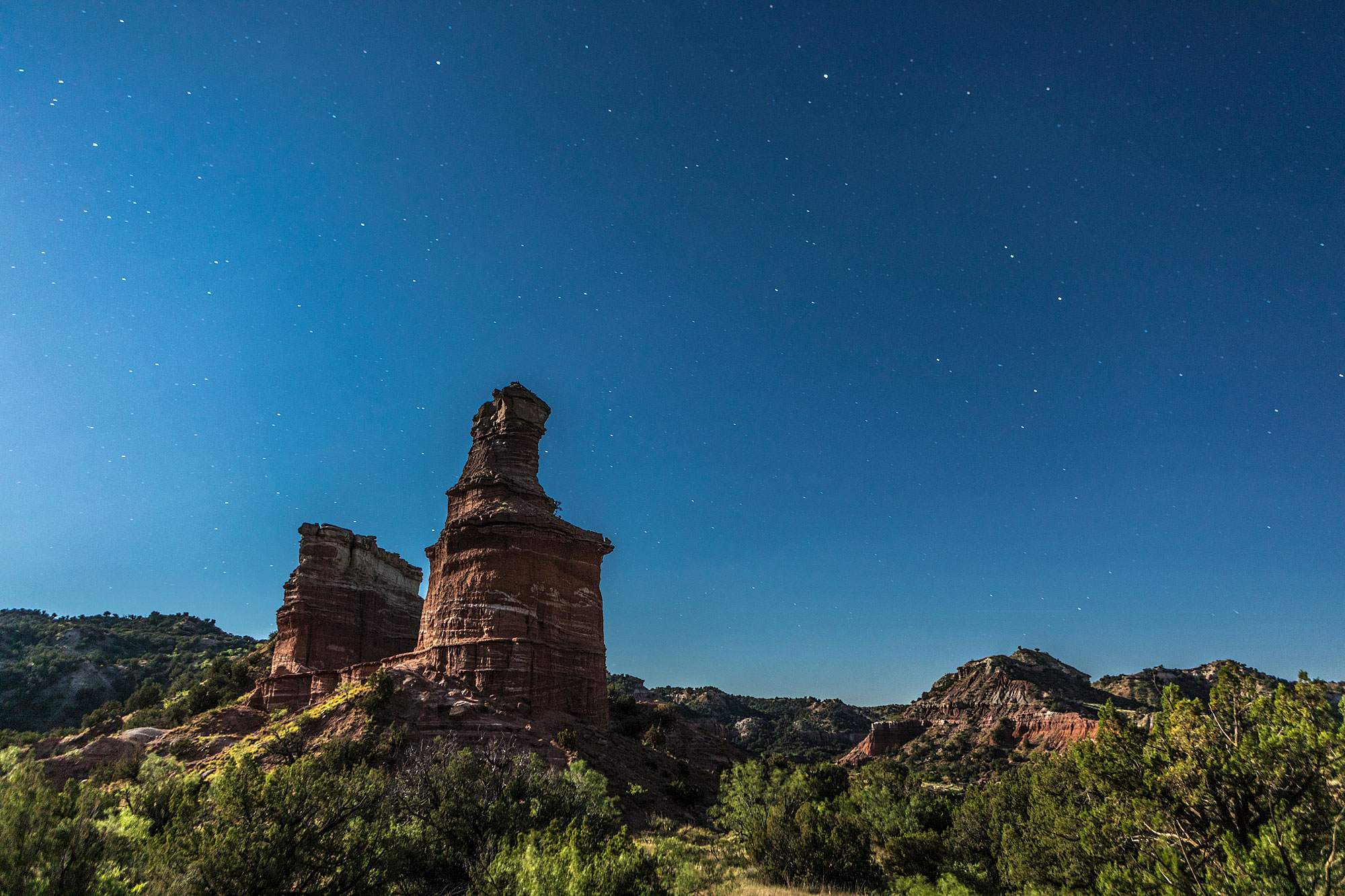 Palo Duro Canyon Lighthouse Under a Full Moon