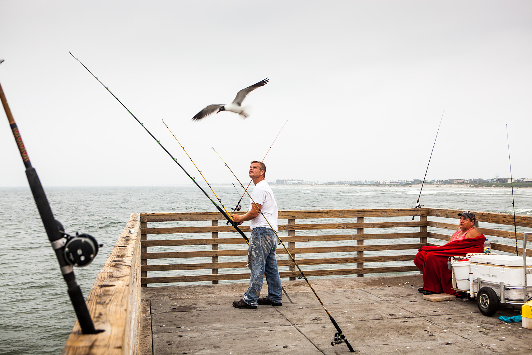 Fishing off Horace Caldwell Pier, Port Aransas