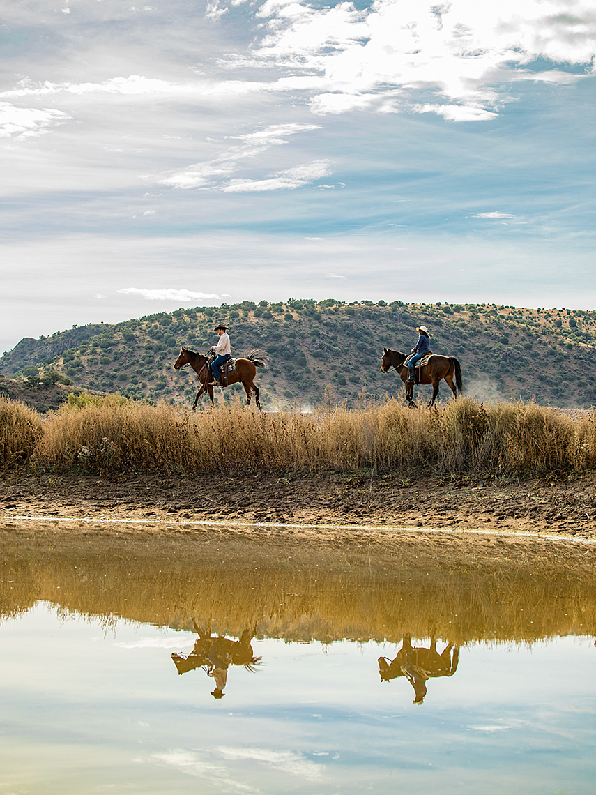 Riders on horseback in Davis Mountains