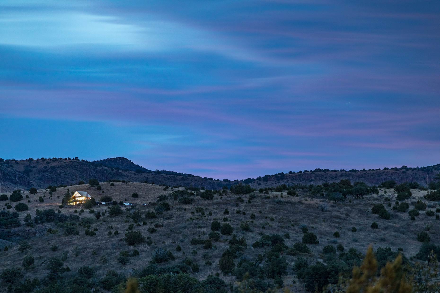 Cabin in the Davis Mountains at dusk