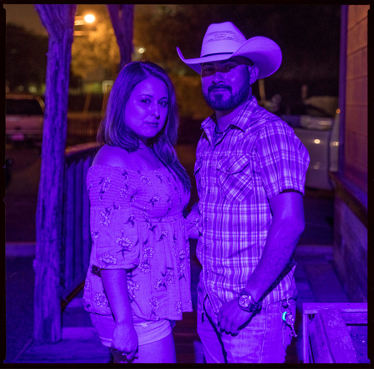 Couple in Blue Light - Edinburg, Tx.