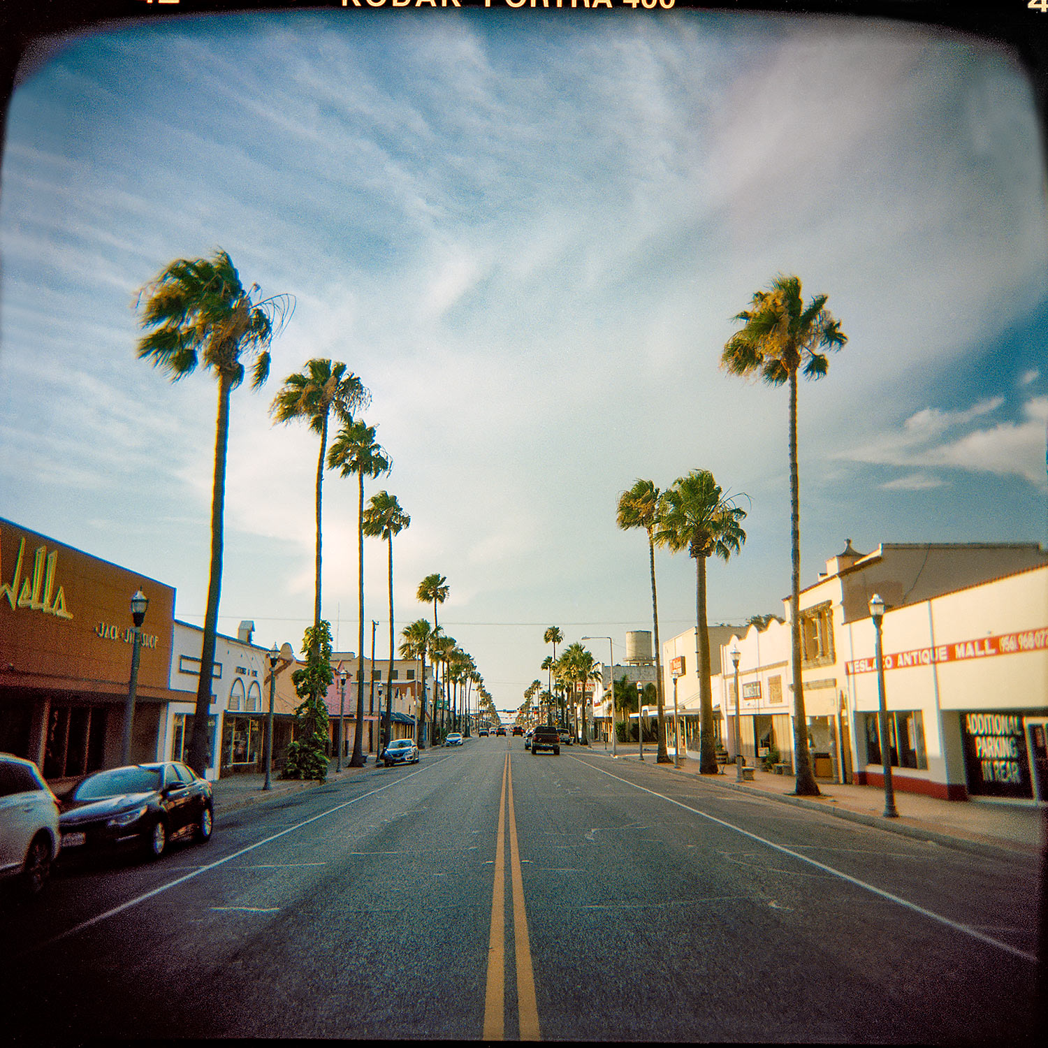 Palm lined Main Street - Weslaco, Tx. - Rio Grande Valley