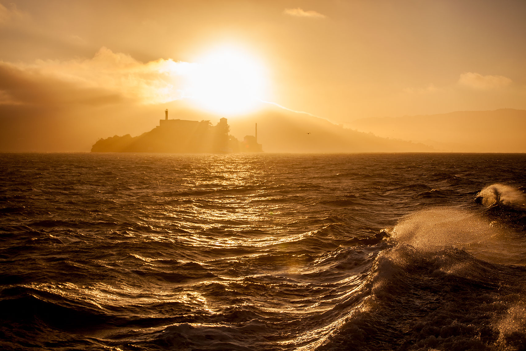 Alcatraz Island with setting sun