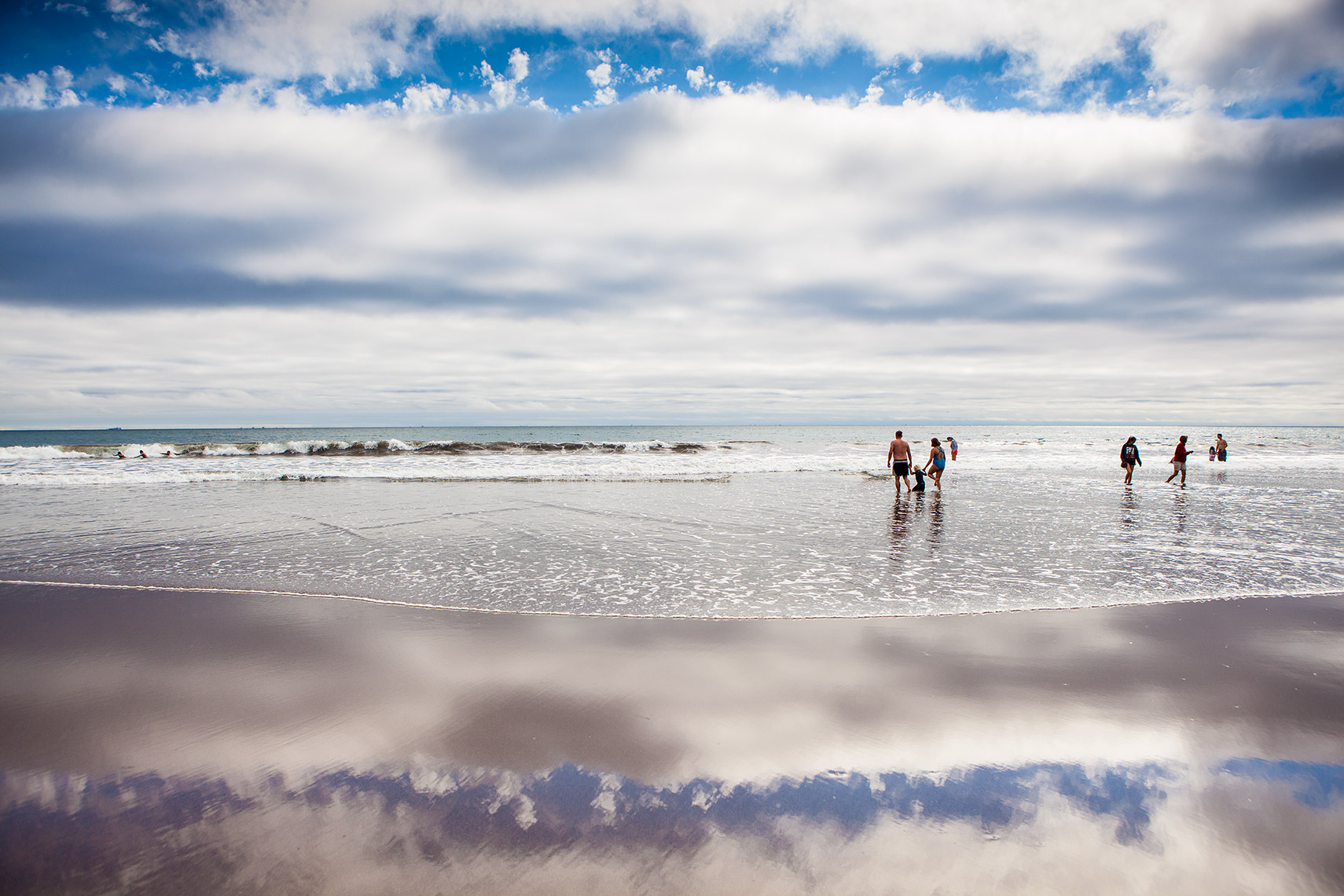 People at Stinson Beach, California