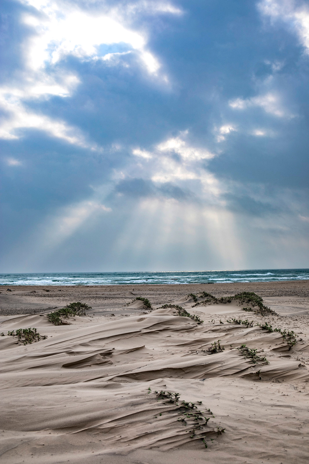 Sand dunes on Texas beach with dramatic clouds