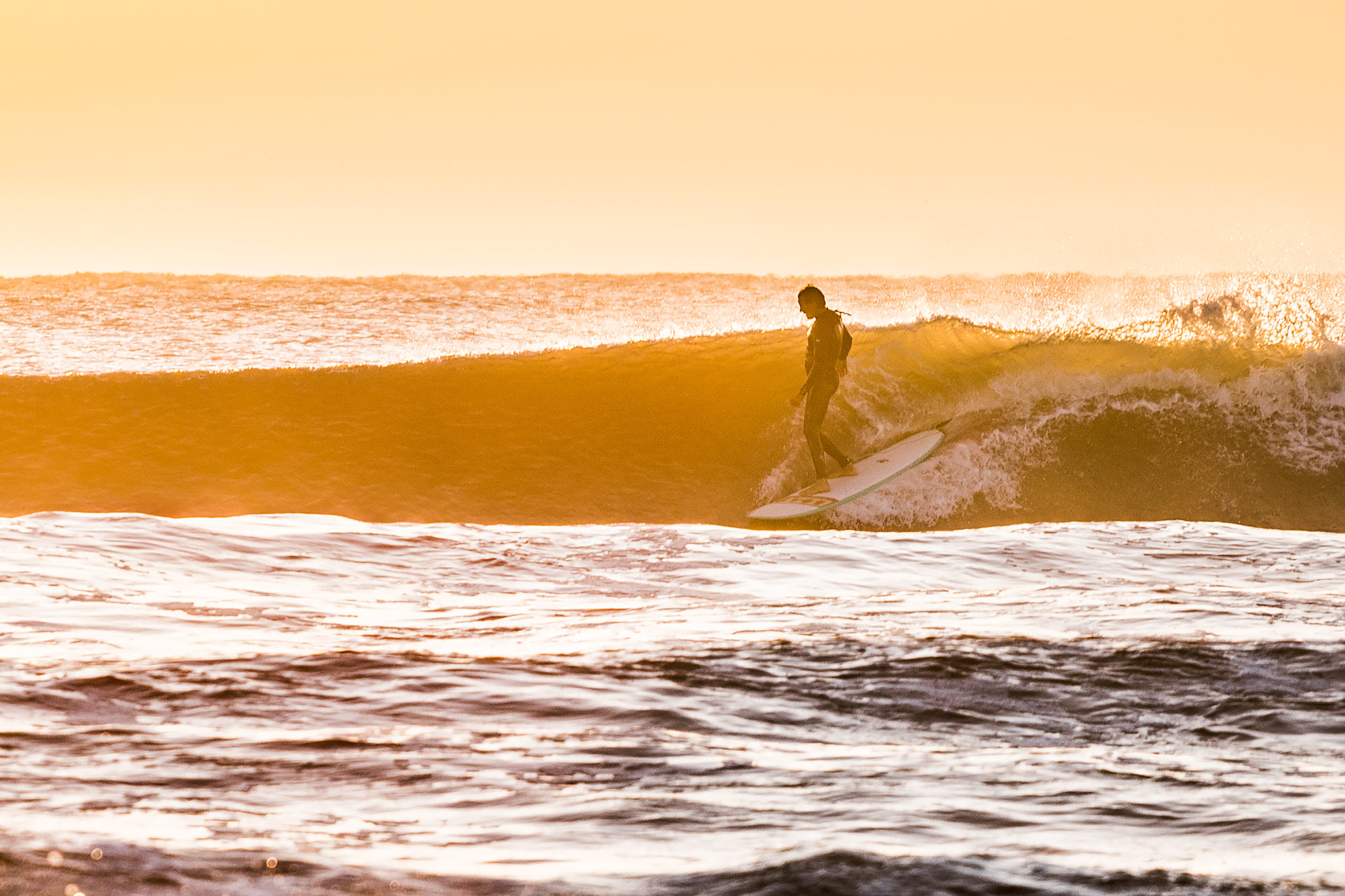 Texas surfer on a wave at sunrise on longboard