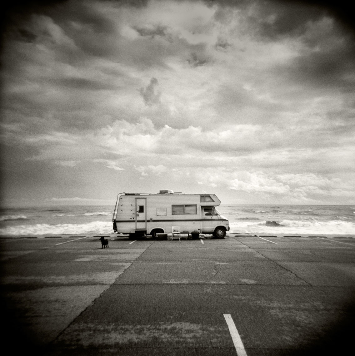 RV parked on Galveston Seawall