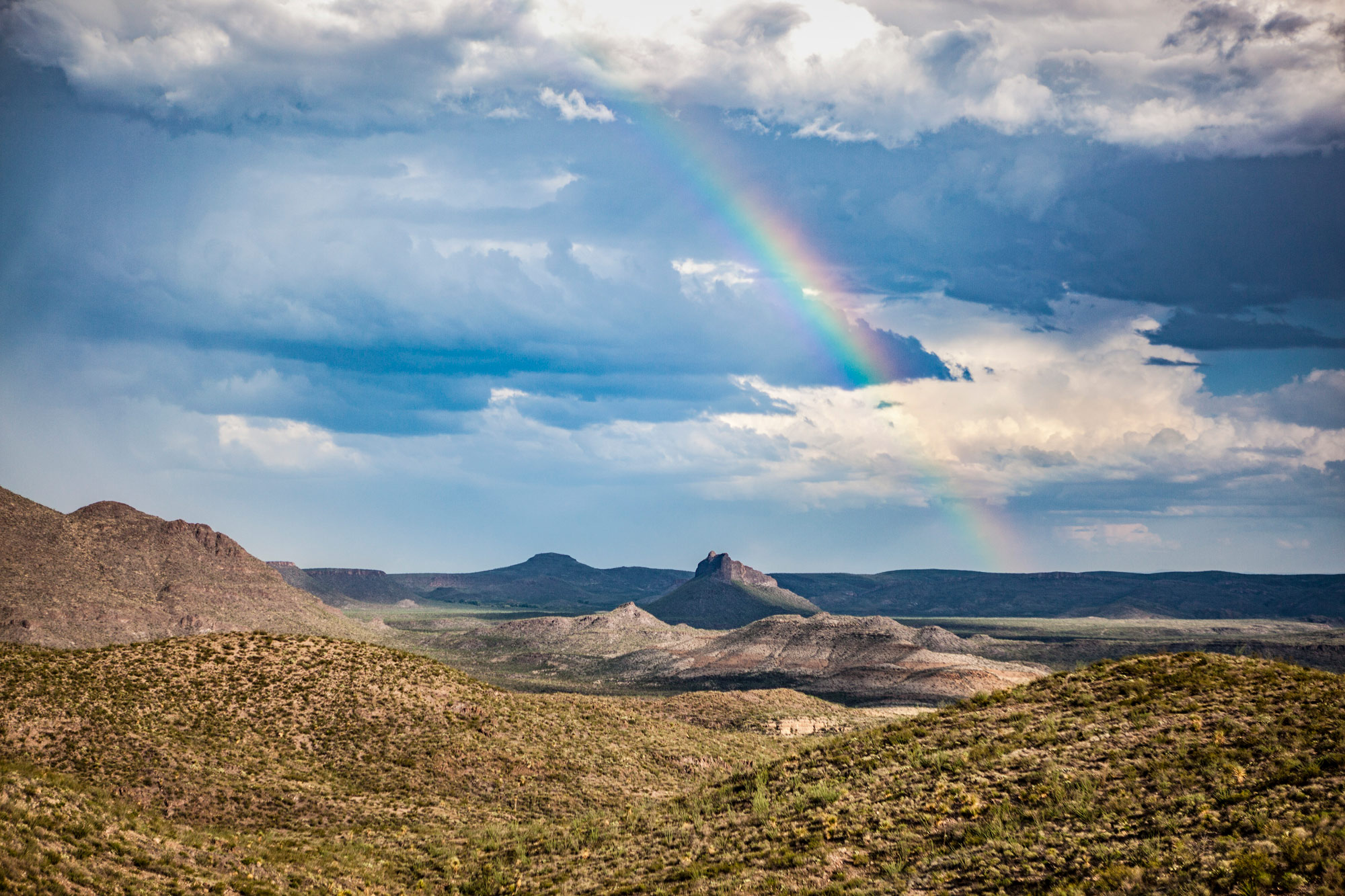 Chinati Mountains with rainbow in West Texas