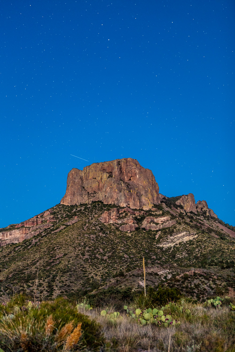 Casa Grande with stars at dusk -  Big Bend National Park