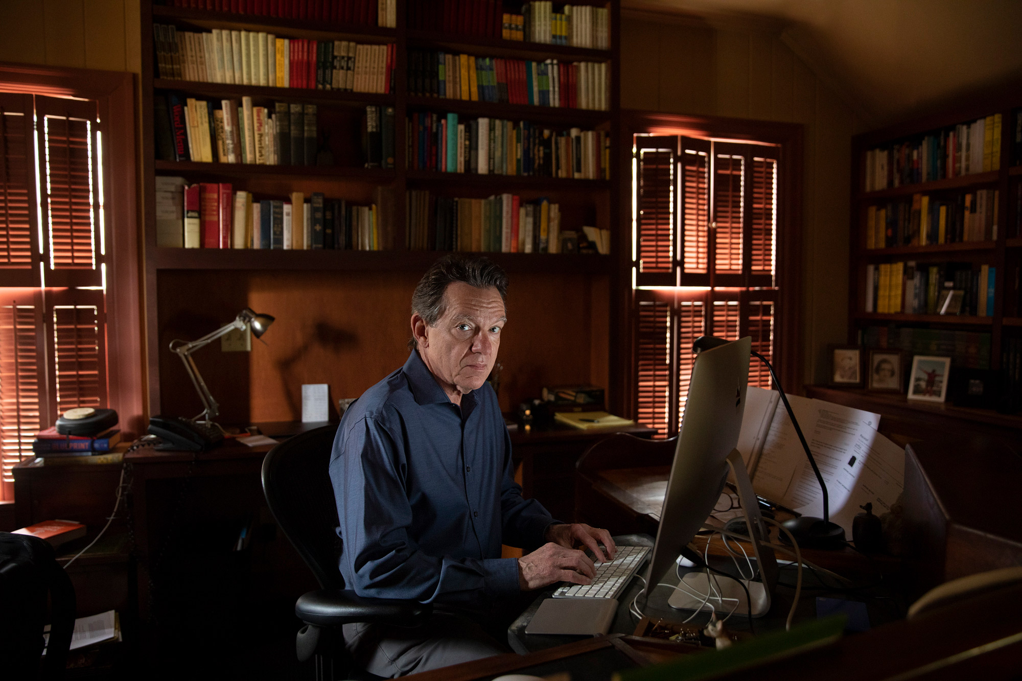 Lawrence Wright in his office.